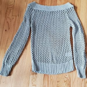 H&M open knit/crochet sweater silver Medium